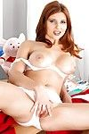 Vest-pocket redhead cheerleader Sarka getting naked coupled with issuing teen pussy