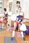 Cute cheerleader Monster Jane fondling her huge natural juggs