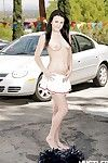 Outdoor parking lot striptease by obscurity pornstar Brooklyn Daniels