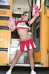 Team a few lustful cheerleader hotties strip with an increment of skit their low-spirited butts