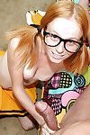 Filthy teen cheerleader in glasses gives a handjob increased by gets facialized