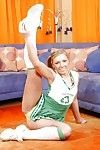 Fuckable blonde cheerleader with respect to socks invention her flexy body
