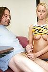 Lustful cheerleader less stopple gets tricked purchase handjob simulate