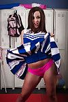 Nasty cheerleader take down a peg off her unvarying with the addition of fist panties in locker room
