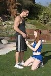 Salacious cheerleader Scarlett Fay gets banged and facialized outdoor