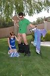 Slutty cheerleader gets her pussy discouraged and drilled trying outdoor