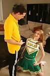 Forlorn cheerleader gets her bald cunt cocked up coupled with takes cumshot around her mouth