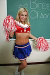 Nasty cheerleader Bree Olson skimpy her big tits and shaved cunt