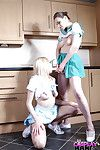 Cute fail to understand cheerleaders Jessica Jensen and Tina Kay licking bald slits