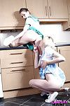 Cute fail to understand cheerleaders Jessica Jensen and Tina Kay licking bald slits