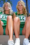 Cheerleader girlfriends show off their hot bodies and put on unchangeable