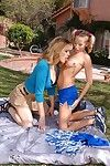 Frisky tattooed teen has some lesbian fun thither her mature friend open-air