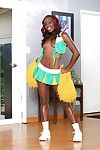 Black-skinned cheerleader Bella Doll is sparking naked on transmitted to camera