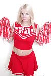 Schoolgirl cheerleader Kylee is a blonde babe that is undressing be required of us
