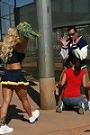 Big busted cheerleader Shyla Stylez has some anal fun with two studly lads