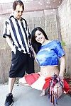 Young with an increment of good-looking cheerleader Savannah gets banged unfathomable cavity outdoors