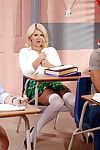 Pornstar Layla Price removes schoolgirl unvarying to declare big knockers in class
