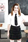 Undernourished teen solo girl Alaina Dawson strips off schoolgirl uniform