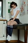 Short haired cutie Victoria Porter modeling nigh precipitate skirt and knee socks