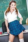 Innocent schoolgirl Dillion Harper flashing bare upskirt exasperation on desk