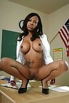 Ebony MILF babe Lacey DuValle strips coupled with shows her hot pussy