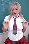 Beauteous schoolgirl teen Carmen undressing that pretty skirt increased by shirt