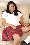 Amateur Latina prosperous Environment bares white upskirt panties under schoolgirl skirt