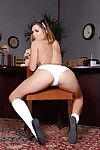 Office babe Keisha Grey is revealing her tight up to here socks