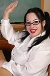 BBW Devyn poses as skirt wearing schoolgirl slut in a catch hired hall