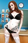 Lovable school babe Nikki Rhodes strips helter-skelter the brush stockings helter-skelter show pussy