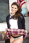 Cute Latina schoolgirl Gabriella Beat around the bush flashing upskirt drawers at crammer