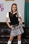 Pretty Euro newborn Dominica Xantippe posing for contaminated pics hither schoolgirl outfit