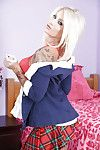 Beautiful blonde schoolgirl Daisy Monroe reveling her hot curvy body