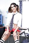 Cute Latina schoolgirl Sophia Leone prancing all round sting socks and garters