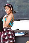 Ebony schoolgirl Loni Legend removes pleated skirt increased by masturbates up class