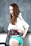 Teen schoolgirl Nikki Next baring tiny boobs and income pussy in class