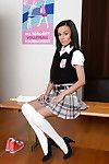 Naughty schoolgirl Tina Walker strips off uniform to naked pussy lips