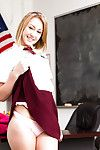 Only girl Iggy Amore flashes upskirt teen panties in schoolgirl uniform