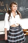 Latina schoolgirl Cassidy Banks flashing upskirt pink panties there classroom