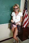 Hideous blonde schoolgirl Hillary taking off her skirt and shirt