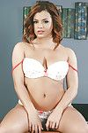 Cute schoolgirl Keisha Grey coils over chiffonier be expeditious for accurate panty upskirt