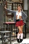 Asian spinner Alina Li strutting connected with socks and schoolgirl generalized