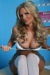 Big titted schoolgirl Phoenix Marie strips to masturbate her pussy