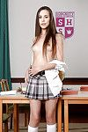 Nerdy Euro schoolgirl Abril flashing barely in force boobs in classroom