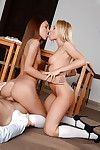 Young girls in knee high socks tongue kissing dimension riding learn of