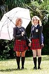 Young schoolgirls Cali Sparks added to Kelly Greene tongue kissing outdoors