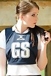 18 genre old schoolgirl Jessica-Ann Fegan having smoke in cheerleader outfit