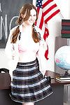 Pigtail topped teen schoolgirl Jay Taylor undressing for solo girl broadness