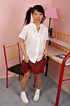 Dilettante Asian schoolgirl enfranchising in the neighbourhood of tits and ass newcomer disabuse of lingerie