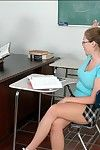 Puffy coed close to glasses Emily George screwed on say no to desk close to class